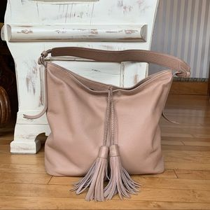 Margot Blush Leather Hobo with Tassels